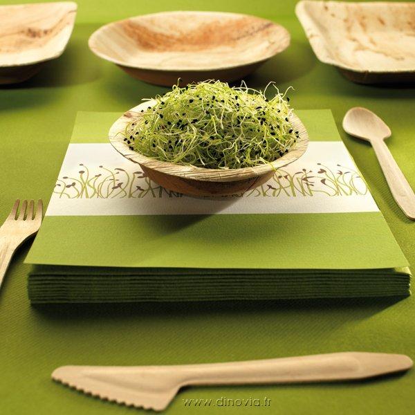 assiette palmier et couvets en bois de bouleau