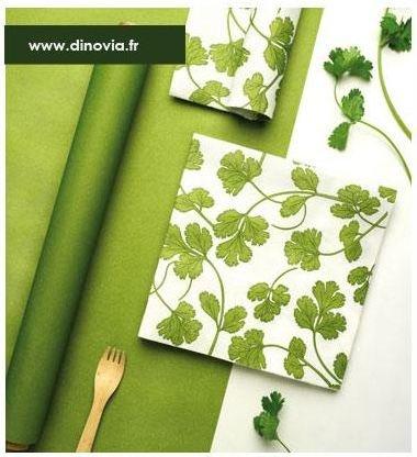 Chemin de table vert tête à tête vert